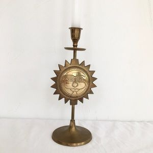 Brass Sun Candlestick Holder